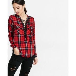 Express plaid lace up top